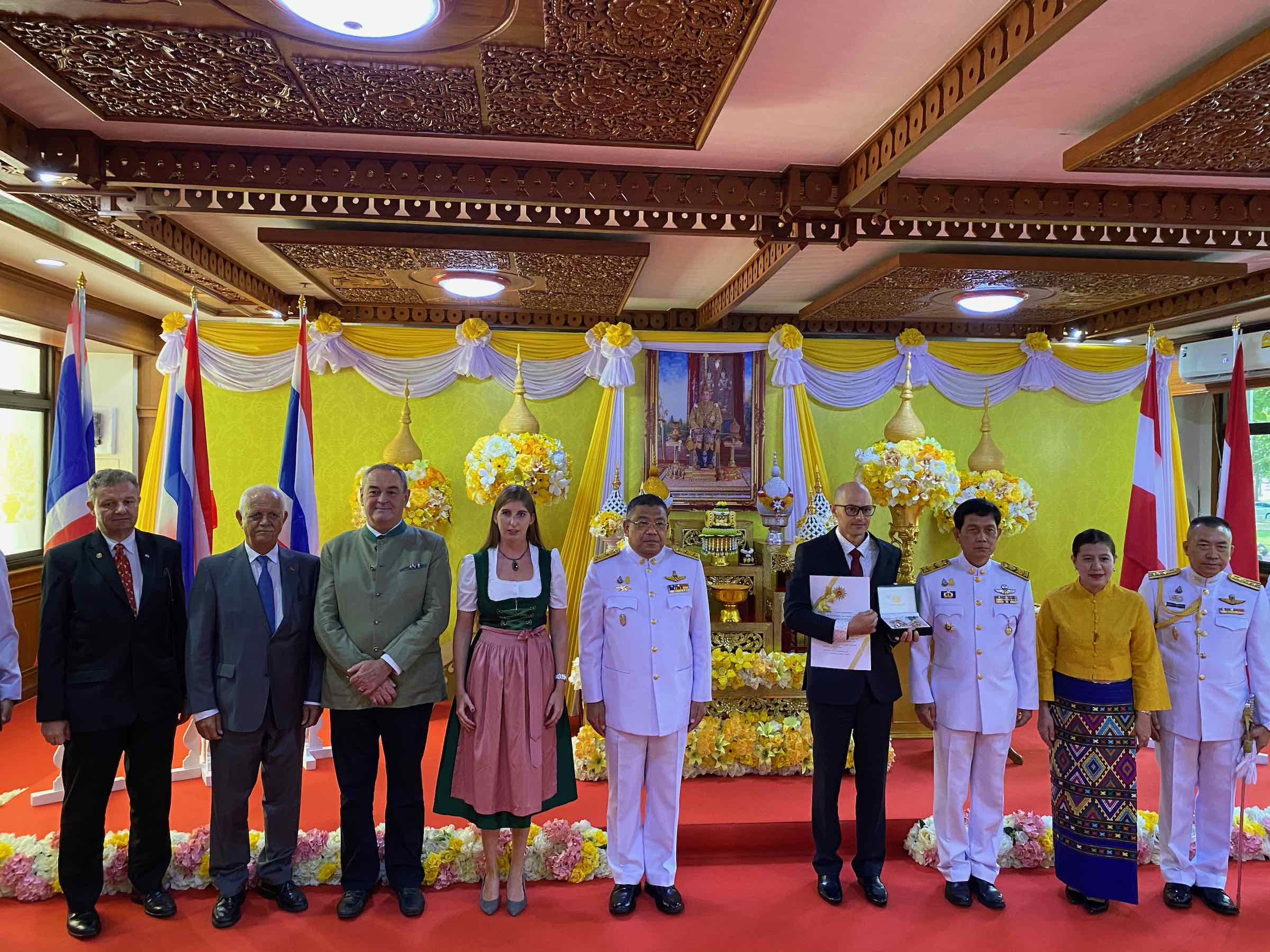 CMRCA team member Mario Wild receives royal decoration from the Thai government presented by the Governor of Chiang Mai for his effort during the Tham Luang Thai Cave Rescue