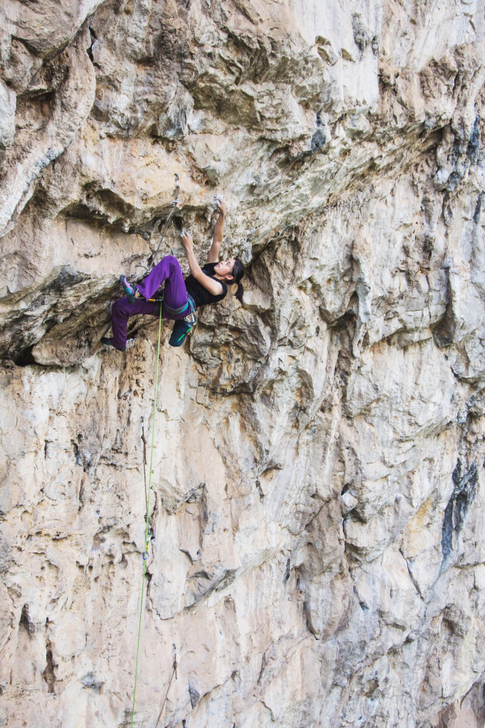 Mean on La Roca (8a), Nam Pha Pa Yai Camp. Photo By Ben Grasser.